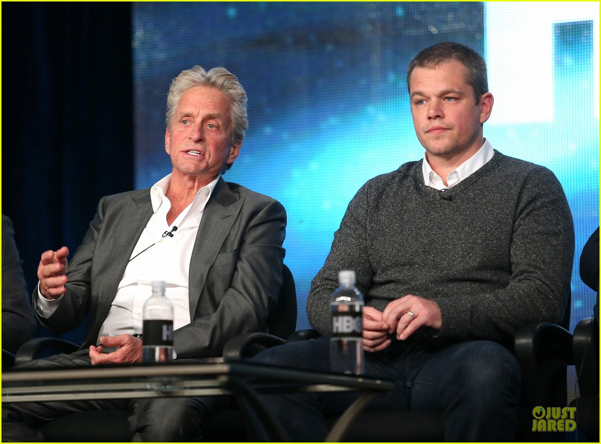 matt damon & michael douglas behind the candlebra tca panel 132784990