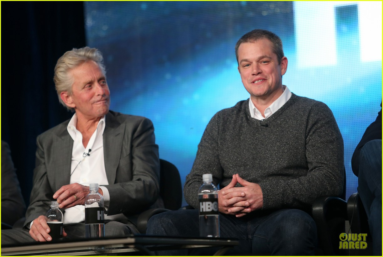 matt damon & michael douglas behind the candlebra tca panel 142784991