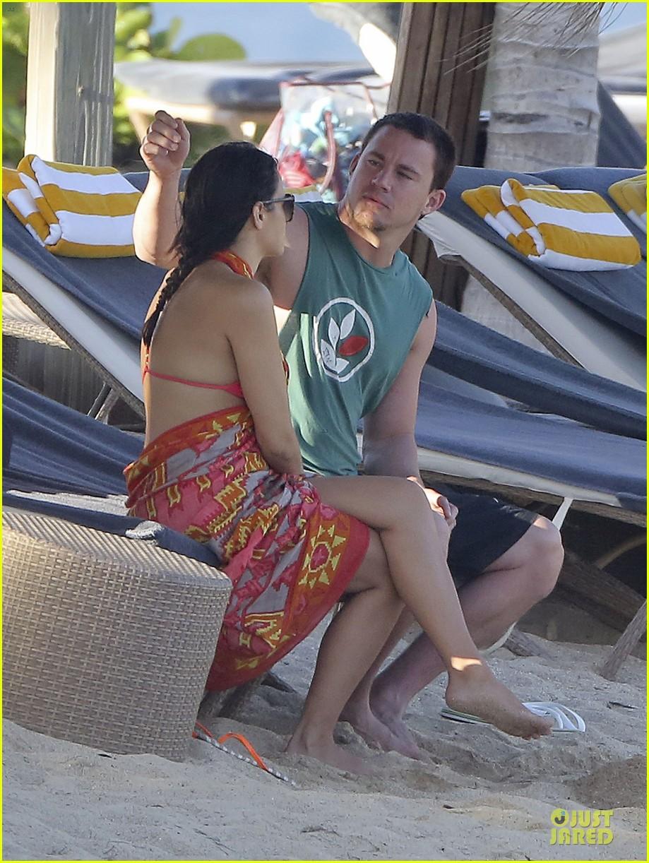 pregnant jenna dewan & channing tatum st barts kissing pair 392783269