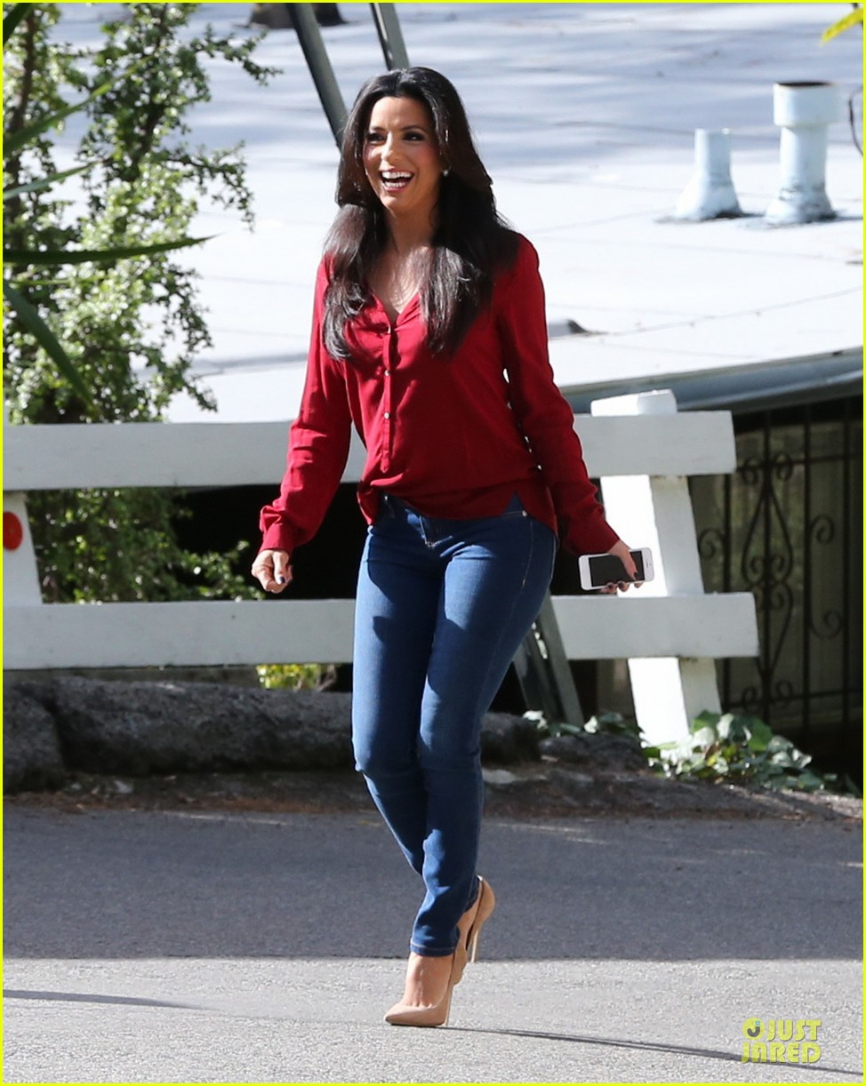 eva longoria red hot work day in santa monica 212786386