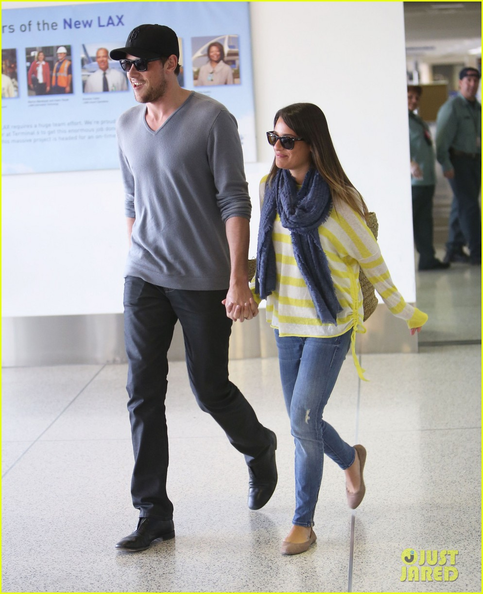 lea michele cory monteith holding hands at lax 032785444