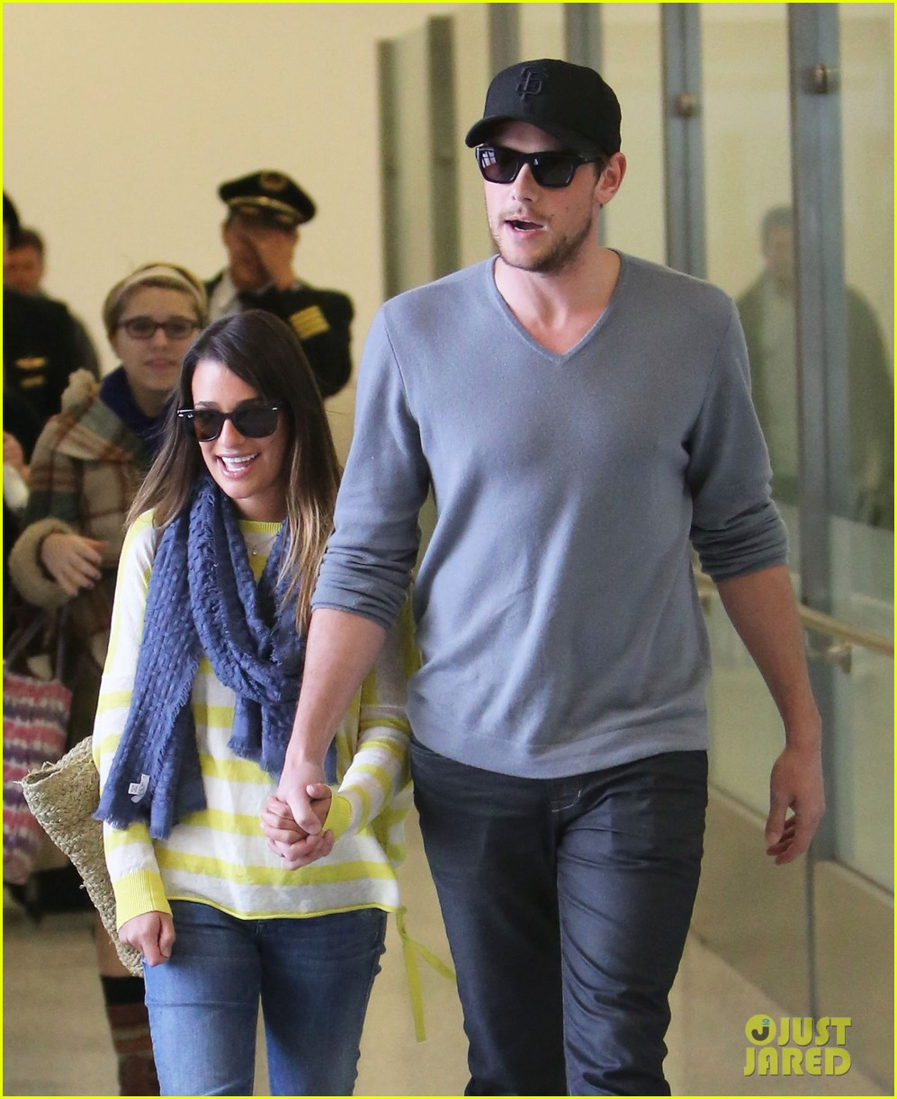 lea michele cory monteith holding hands at lax 072785448