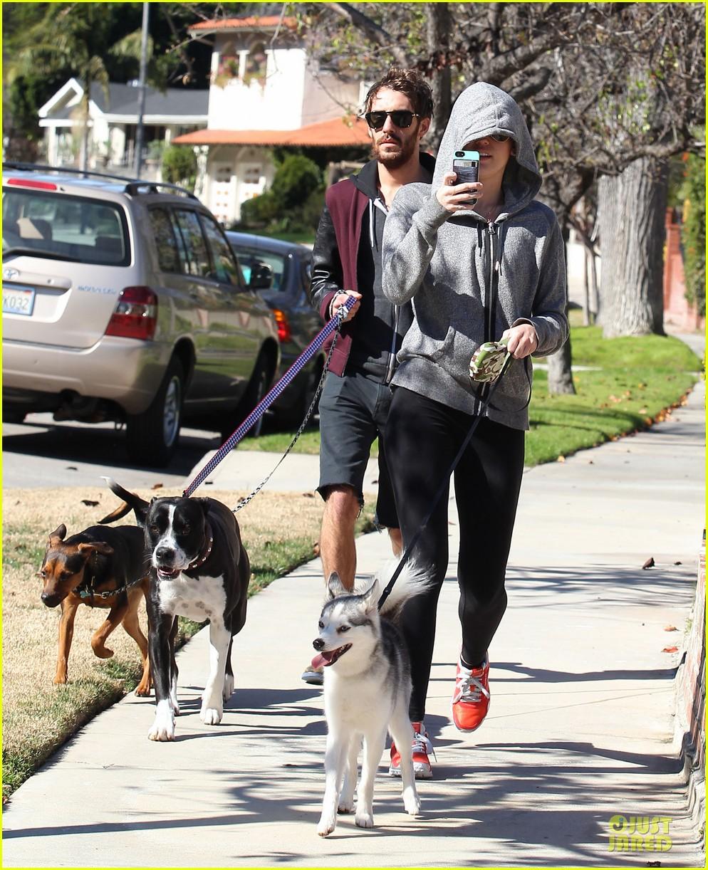 miley cyrus hoodie walk with pet pooch 142800385