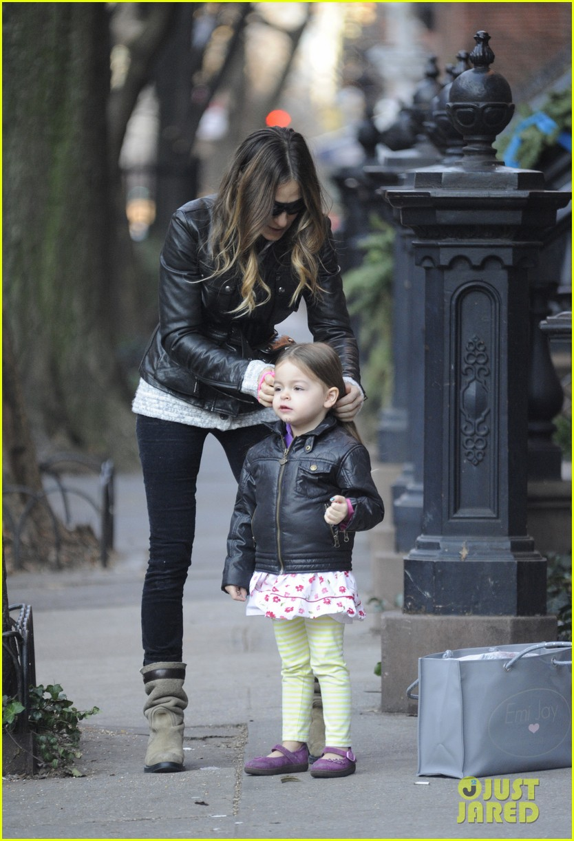 sarah jessica parker twins matching leather jackets 012786788