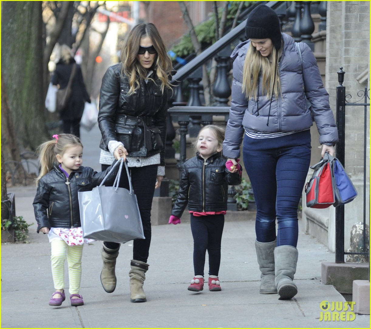 sarah jessica parker twins matching leather jackets 162786803