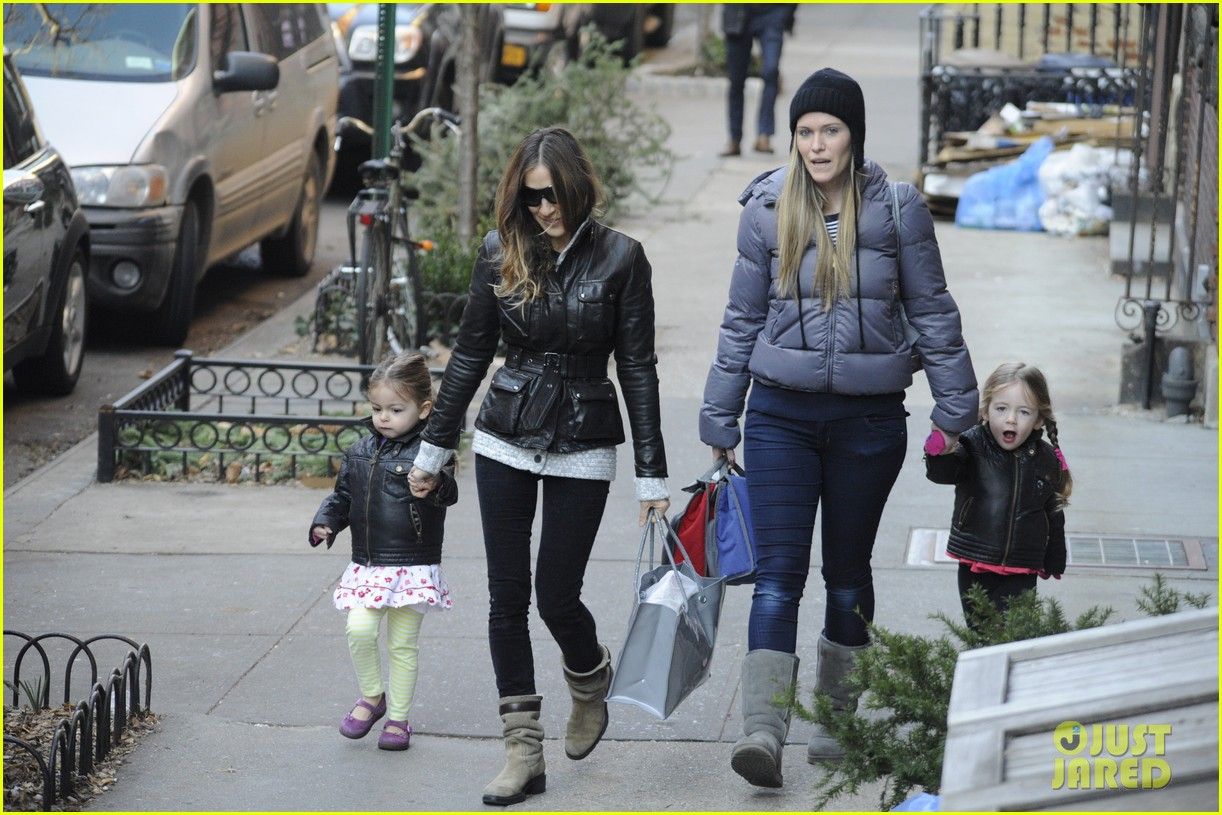 sarah jessica parker twins matching leather jackets 182786805