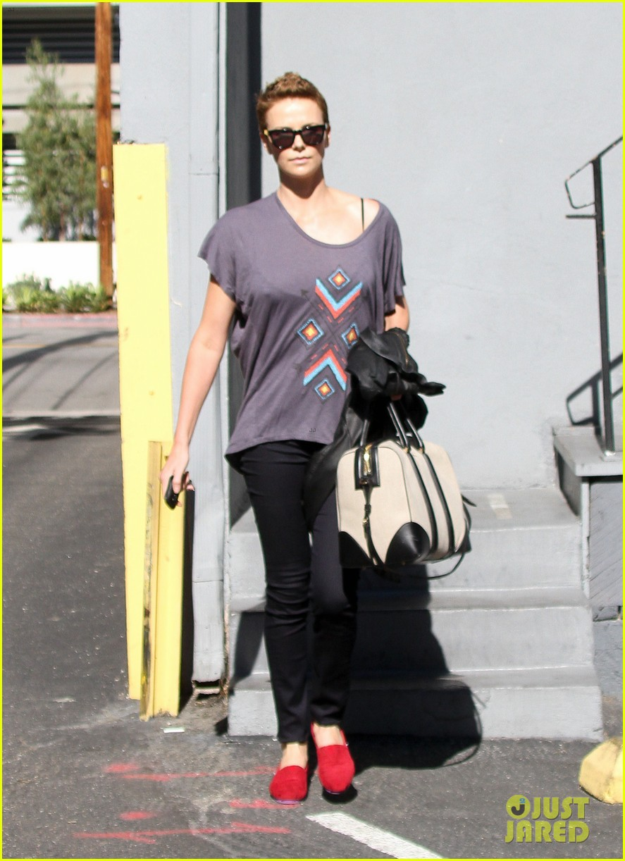 charlize theron fauxhawk hairstyle at the dance studio 132802105