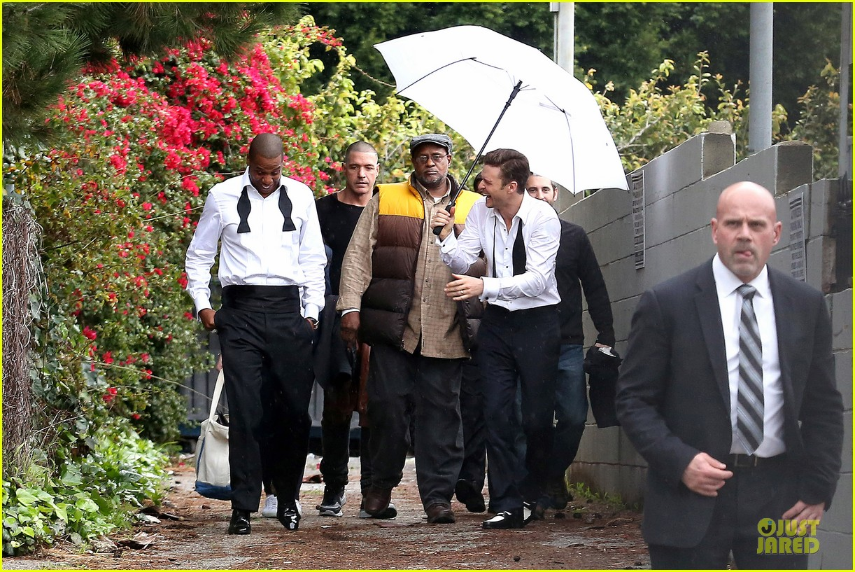 justin timberlake suit & tie music video shoot with jay z 01