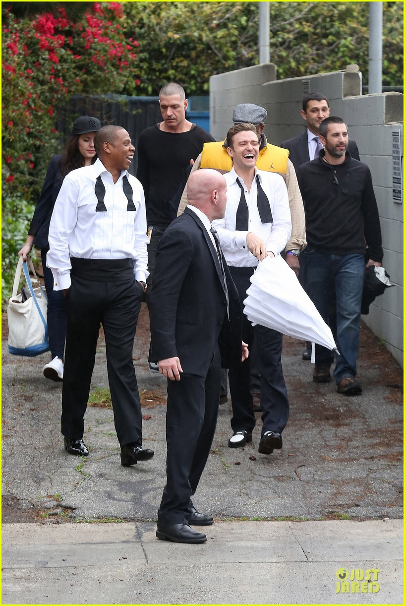 justin timberlake suit & tie music video shoot with jay z 032798636