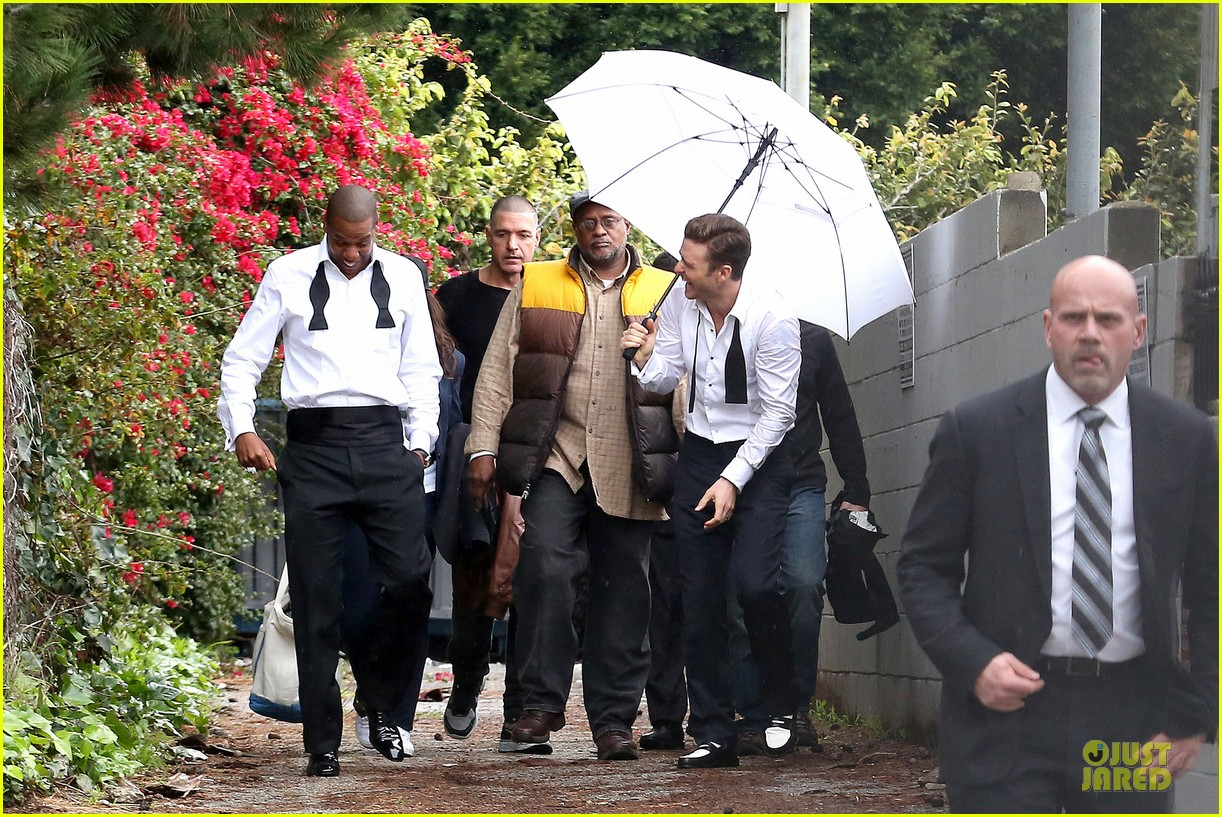 justin timberlake suit & tie music video shoot with jay z 042798637