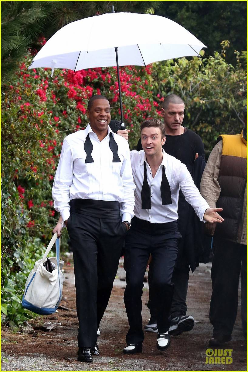 justin timberlake suit & tie music video shoot with jay z 06