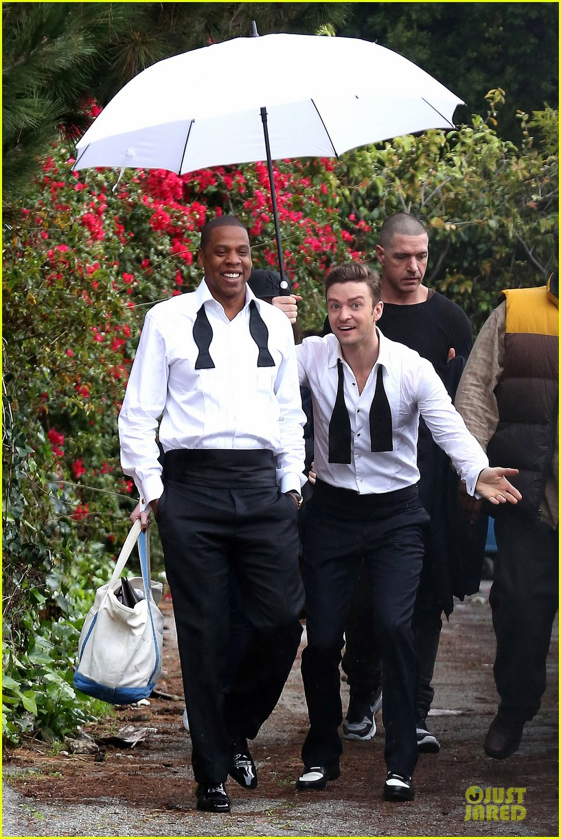 justin timberlake suit & tie music video shoot with jay z 072798640