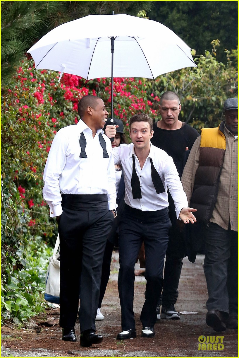 justin timberlake suit & tie music video shoot with jay z 092798642