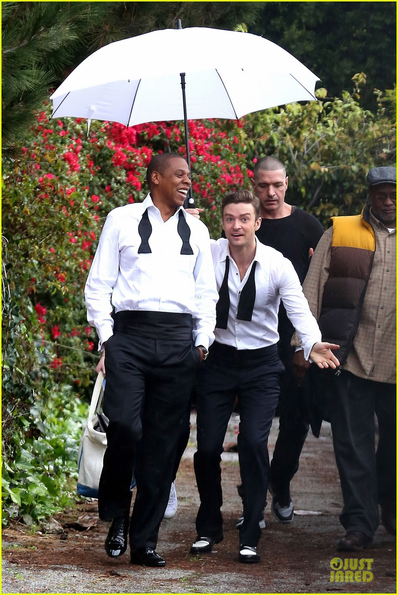 justin timberlake suit & tie music video shoot with jay z 102798643