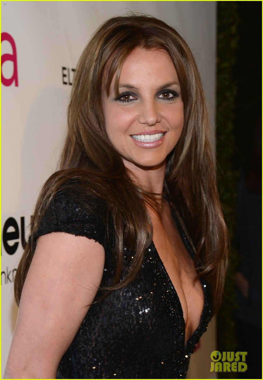 britney spears brown hair at elton john oscars party 2013 14