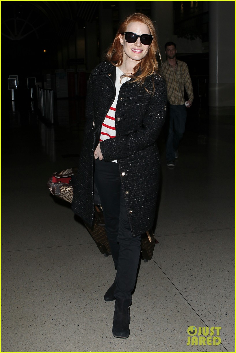 jessica chastain lands at lax nikolaj coster waldau promotes mama 01
