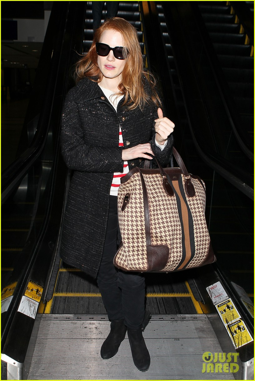 jessica chastain lands at lax nikolaj coster waldau promotes mama 11