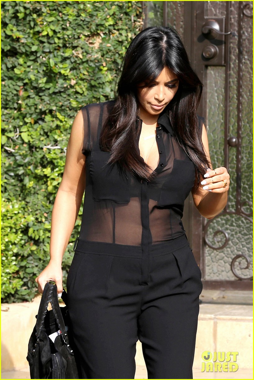 kim kardashian pregnant in sheer top en route to airport 042806928