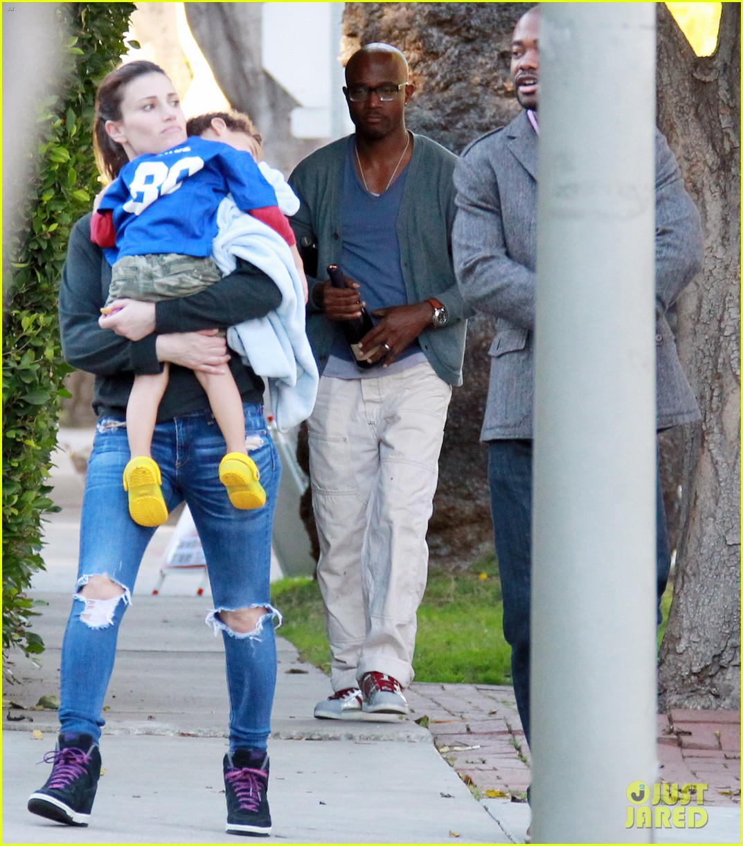 taye diggs idina menzel super bowl party with walker 012804559