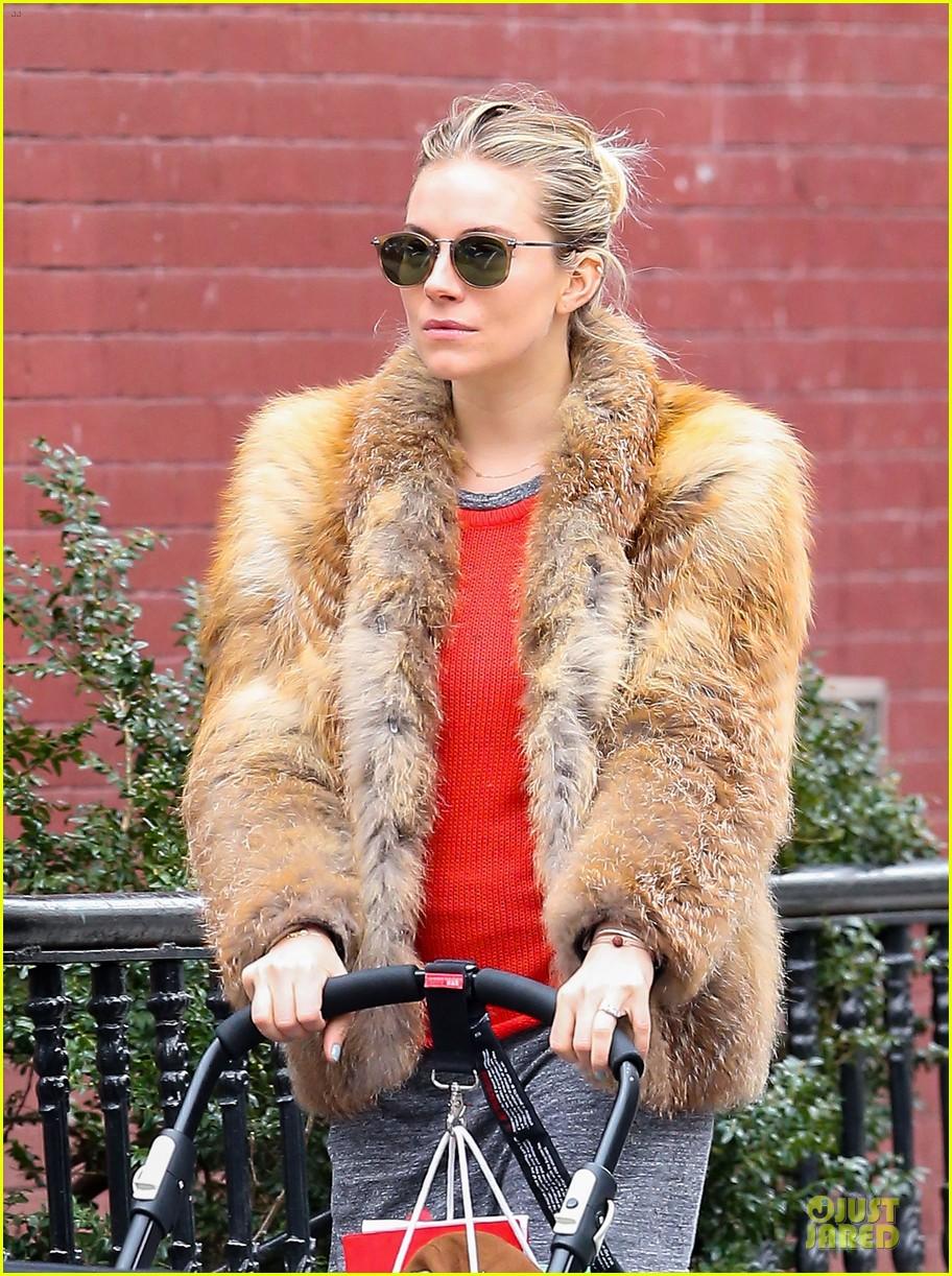 sienna miller fur coat stroll with marlowe 022821538
