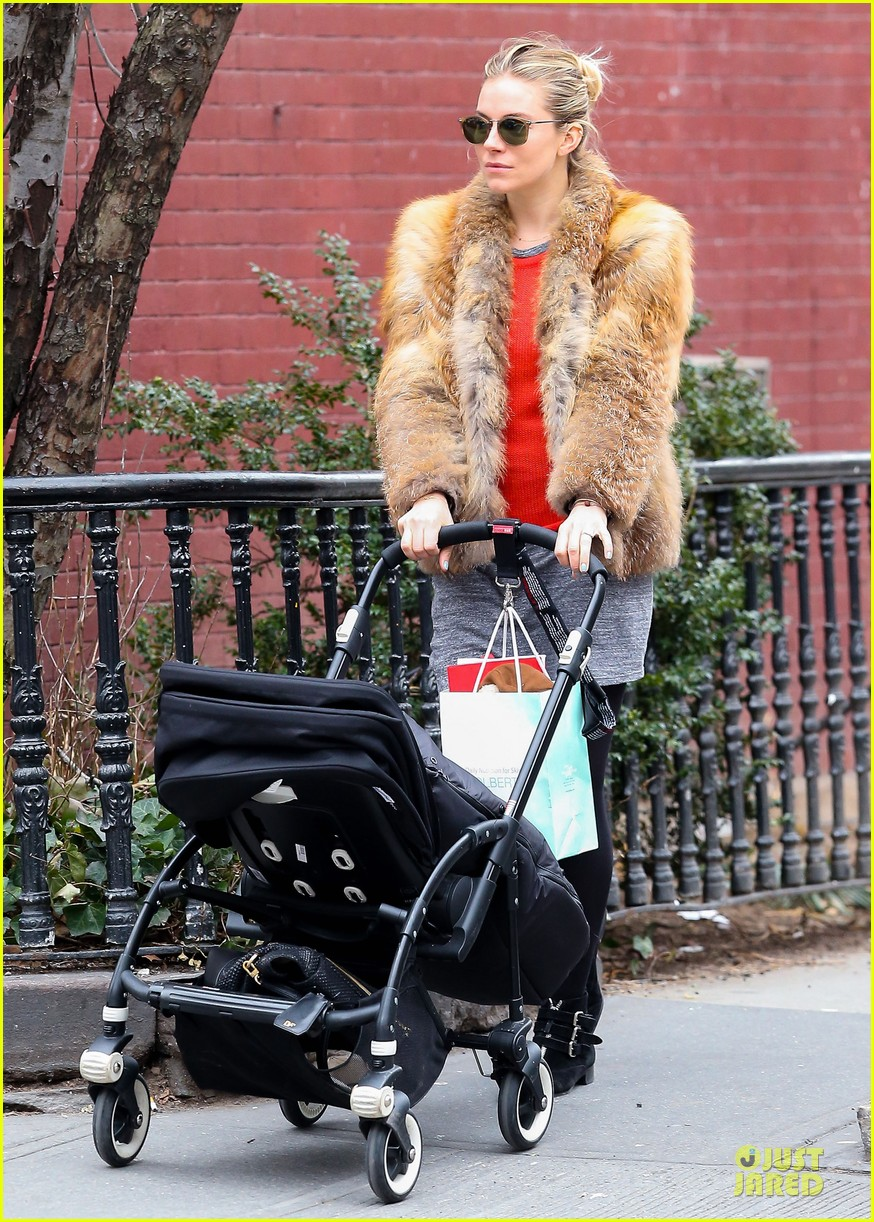 sienna miller fur coat stroll with marlowe 05