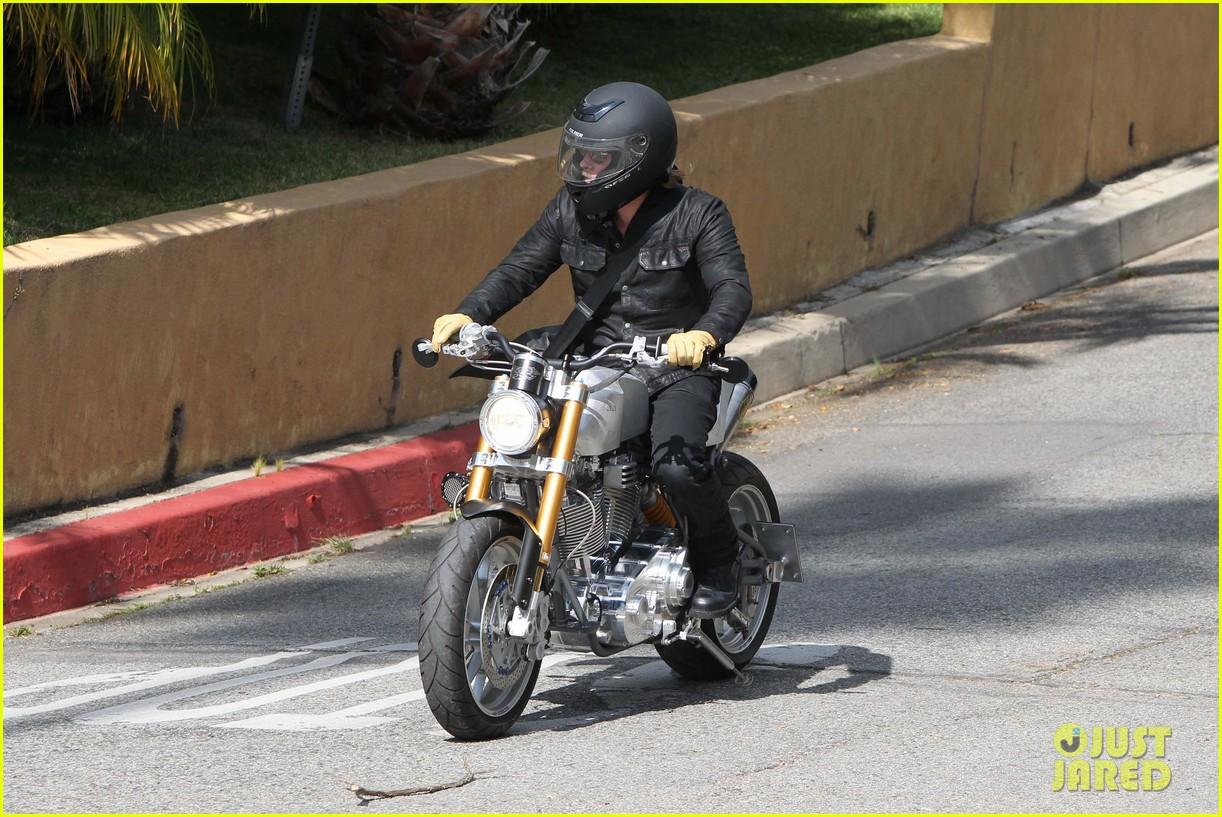brad pitt rides his motorcycle shiloh zahara get froyo 222816588