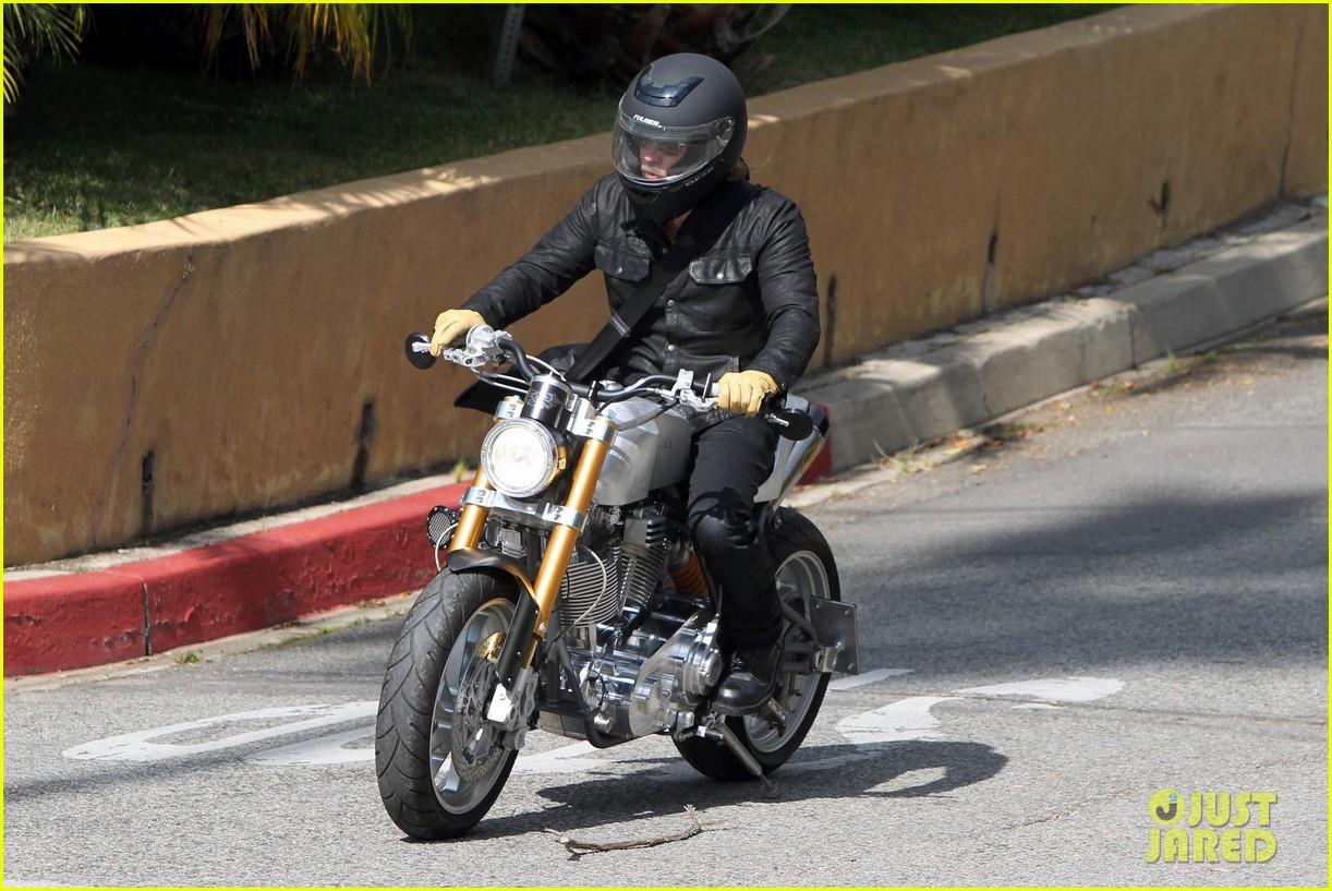 brad pitt rides his motorcycle shiloh zahara get froyo 232816589