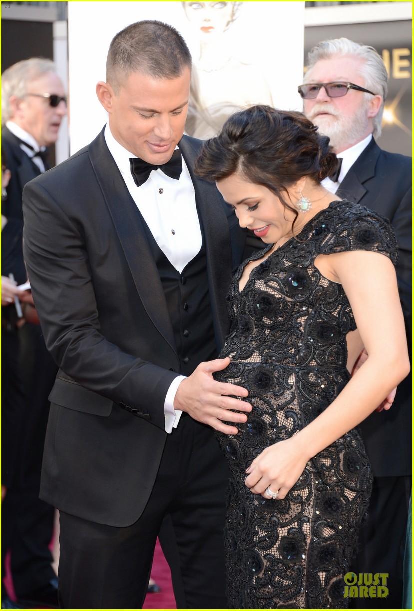 pregnant jenna dewan channing tatum oscars 2013 red carpet 02
