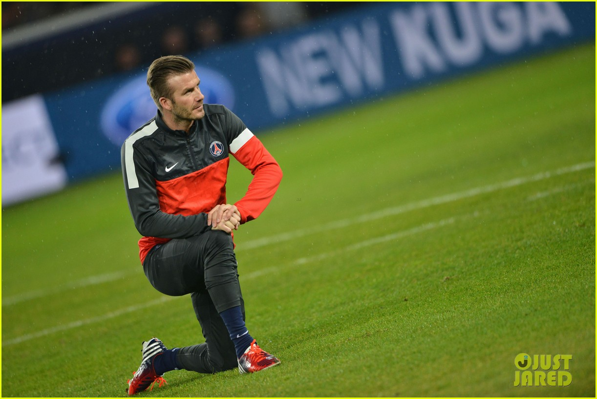 david beckham cheers on the sidelines for psg 12