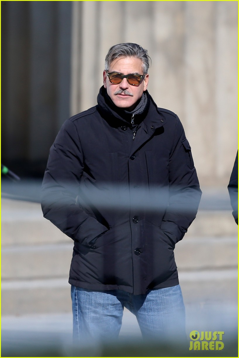 george clooney monuments men set with matt damon 05