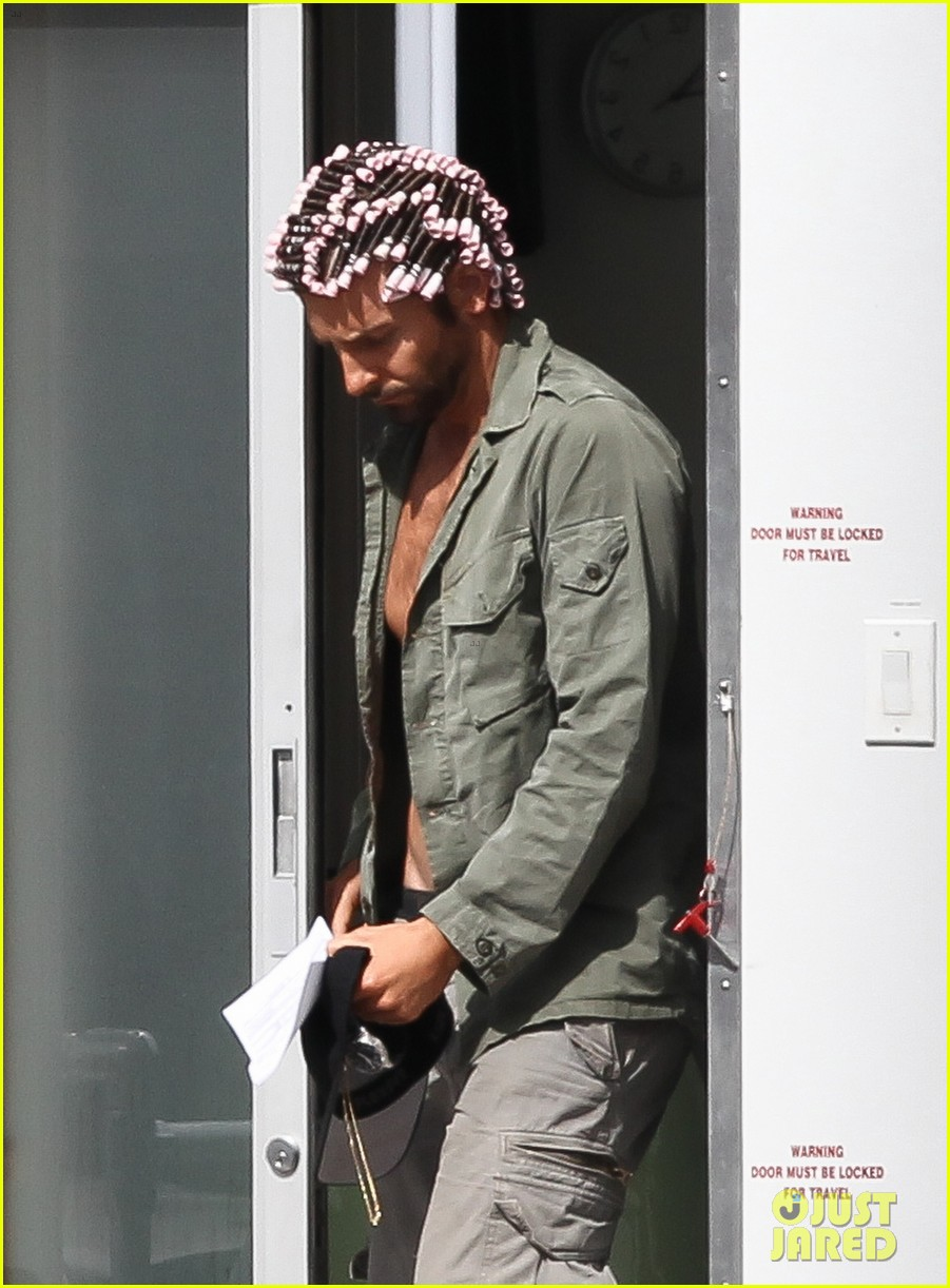 bradley cooper hair rollers shirtless on set 022832728