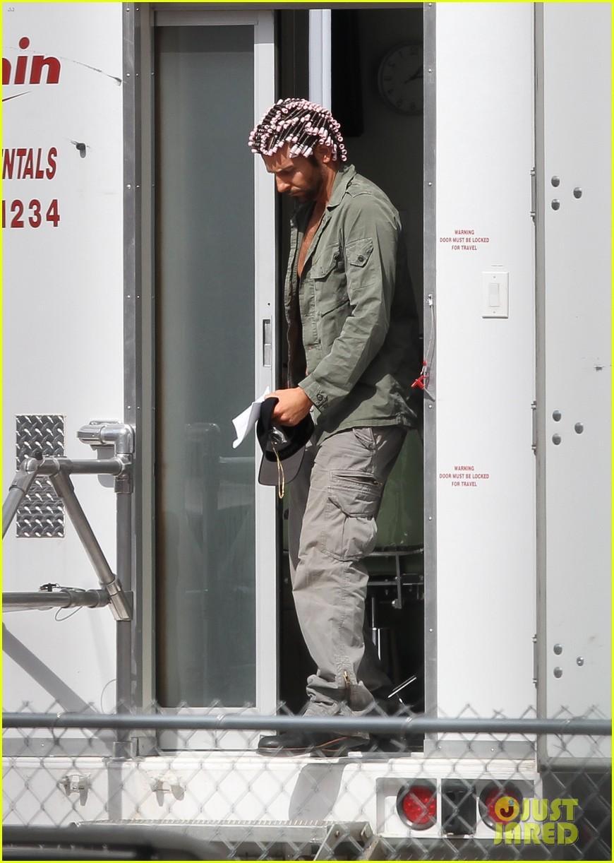 bradley cooper hair rollers shirtless on set 052832731