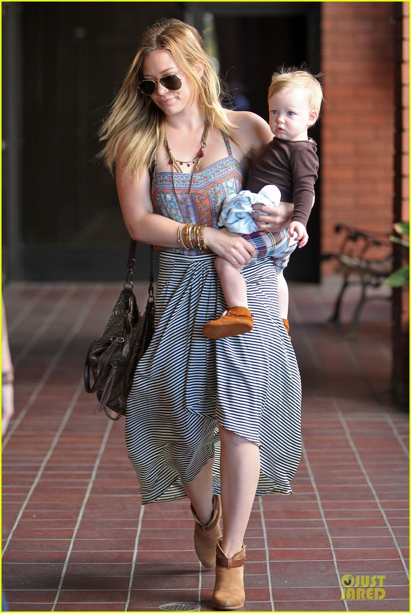 hilary duff plaid breakfast with luca 032830663