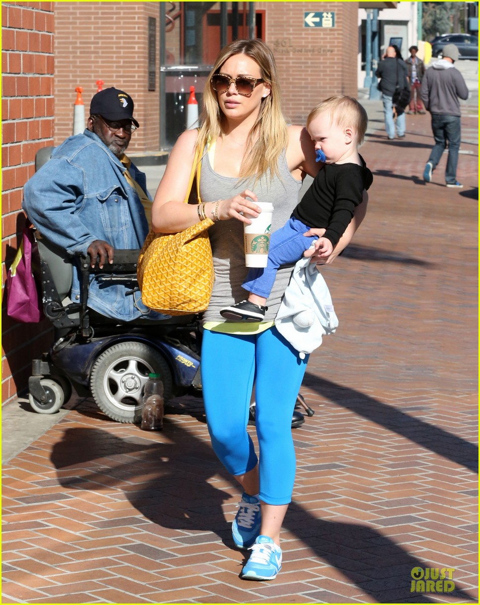 hilary duff plaid breakfast with luca 052830665