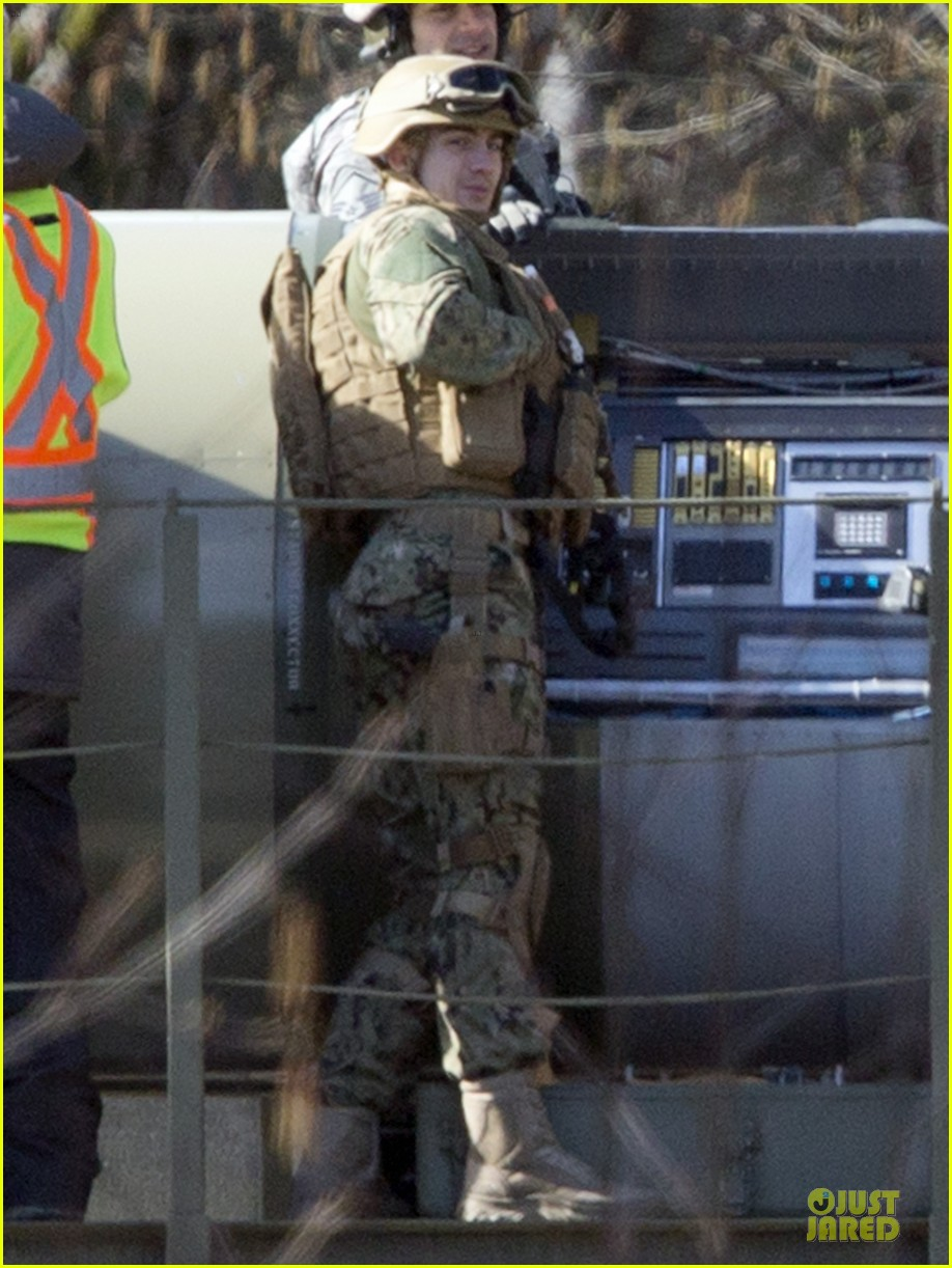 aaron taylor johnson military uniform on godzilla set 142835974