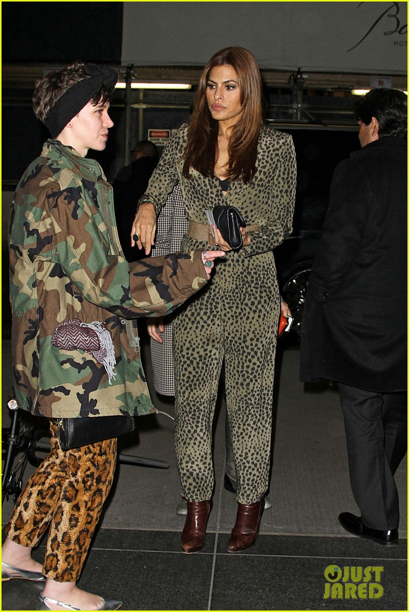 eva mendes leopard jumpsuit at private moma screening 062839052