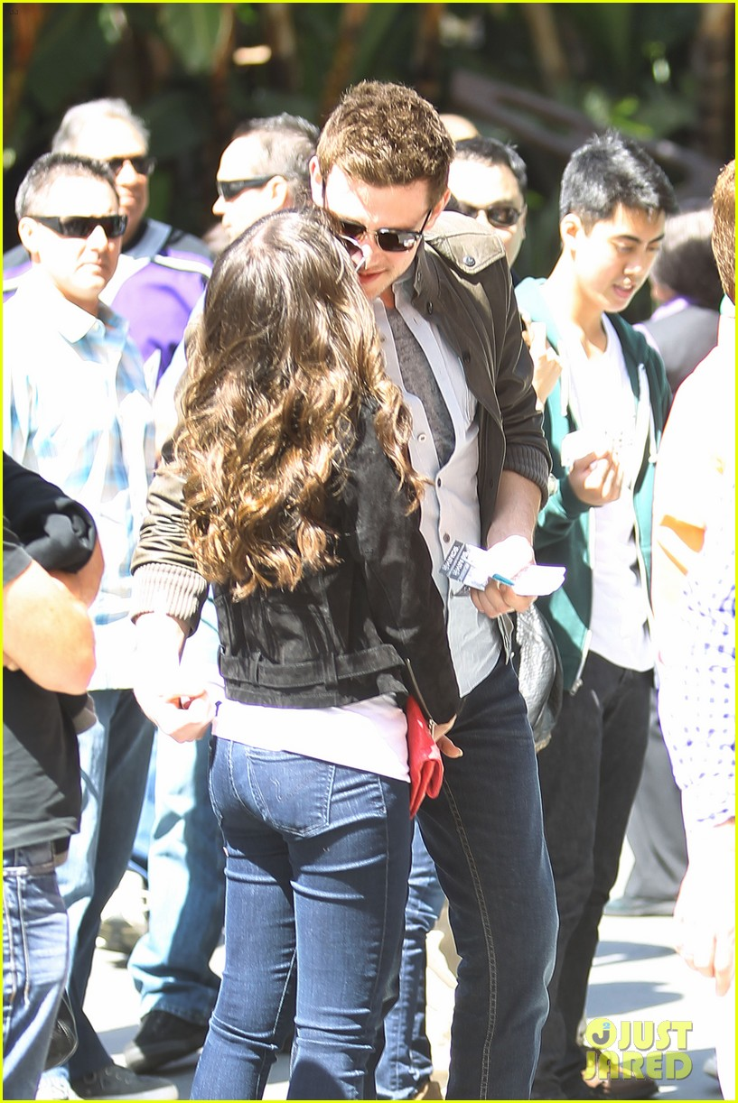 lea michele cory monteith kings game couple 042836370