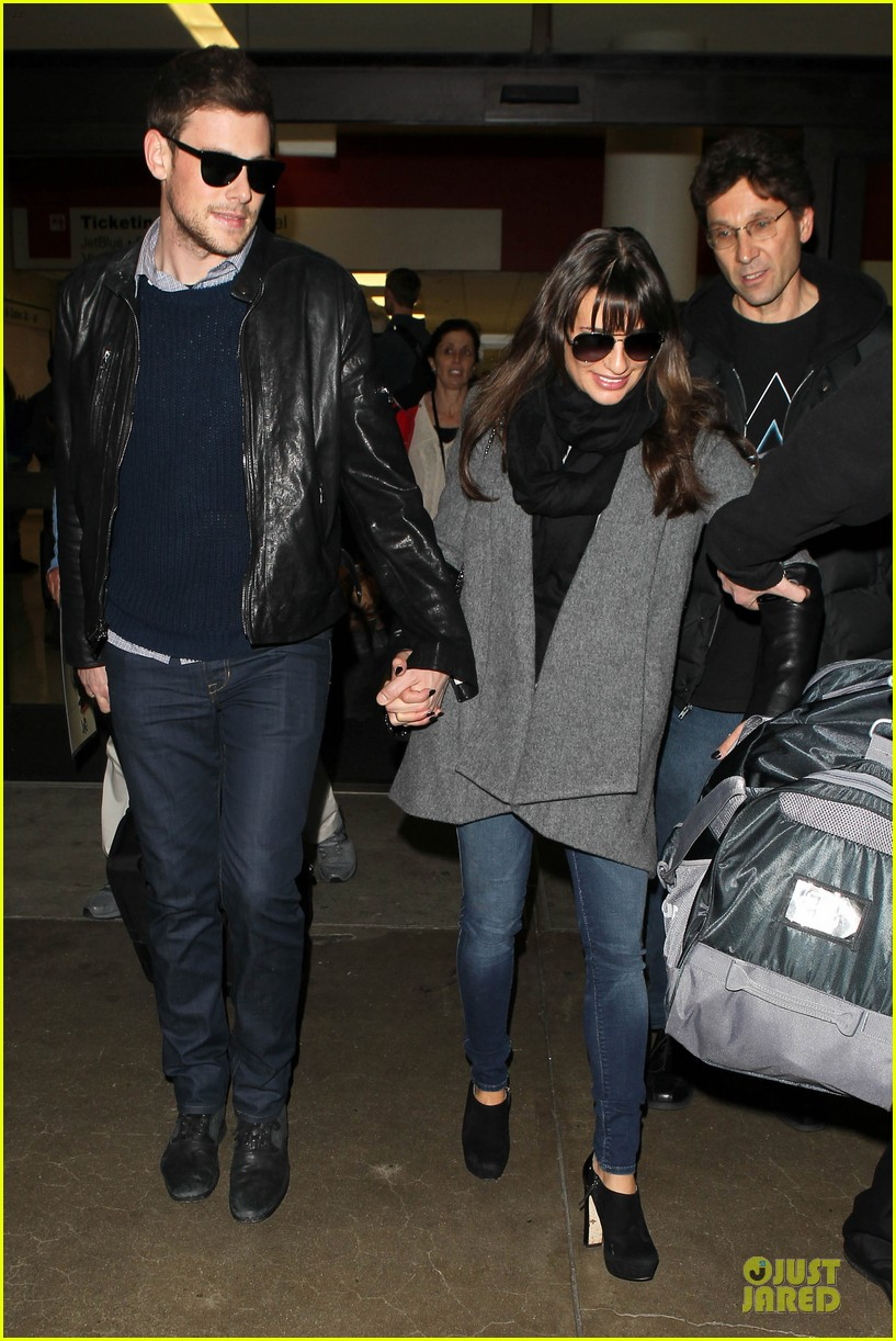 lea michele cory monteith snowy new york departure 072827692