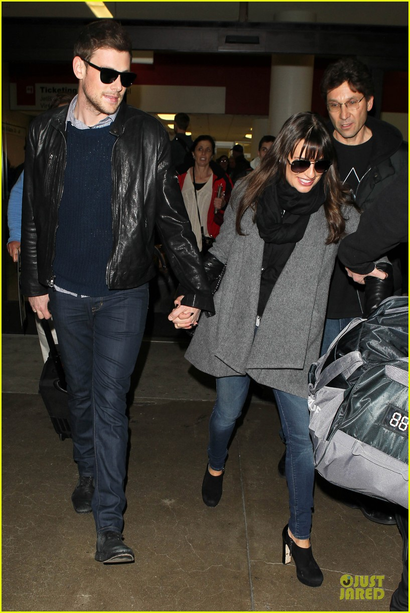 lea michele cory monteith snowy new york departure 08