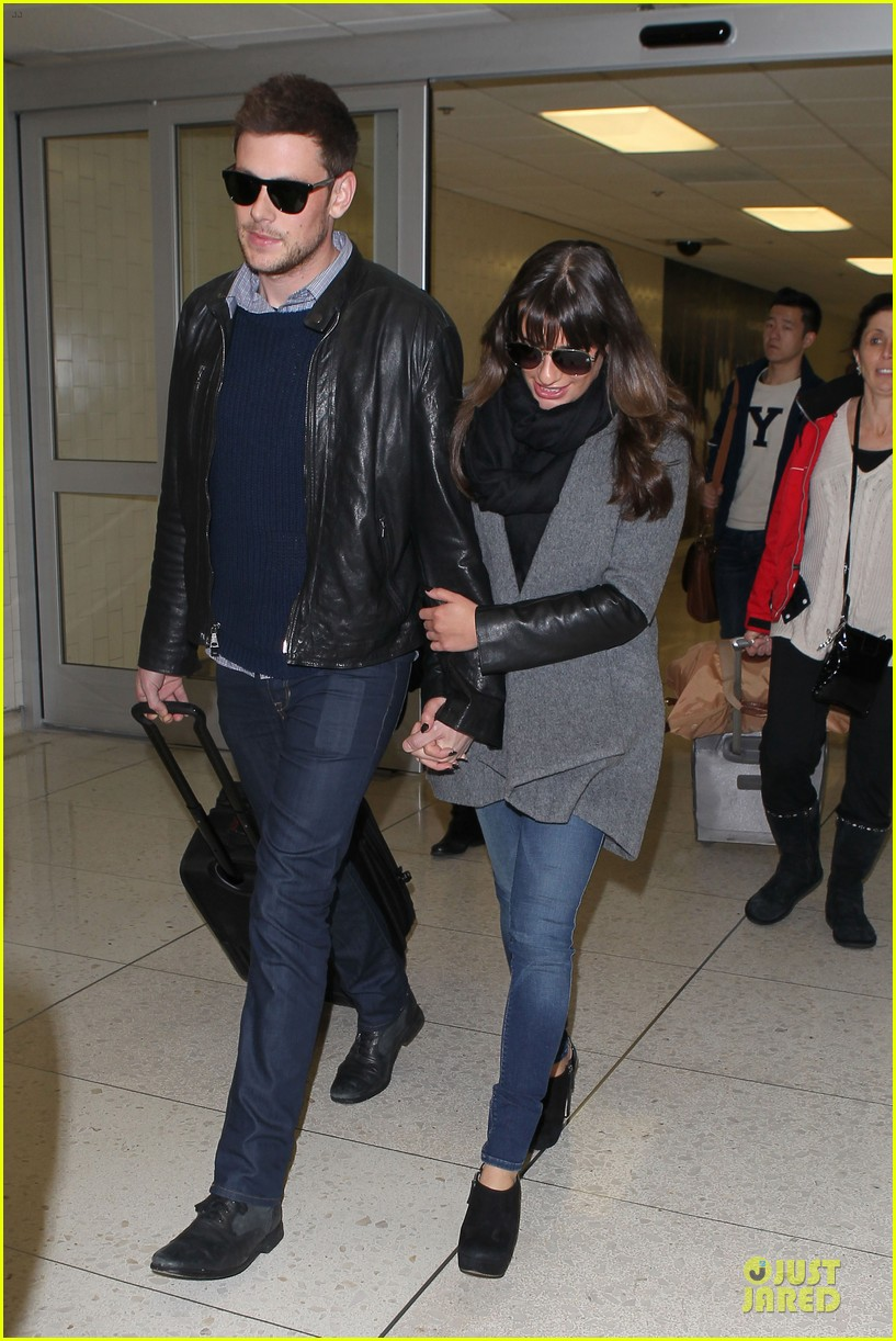 lea michele cory monteith snowy new york departure 092827694