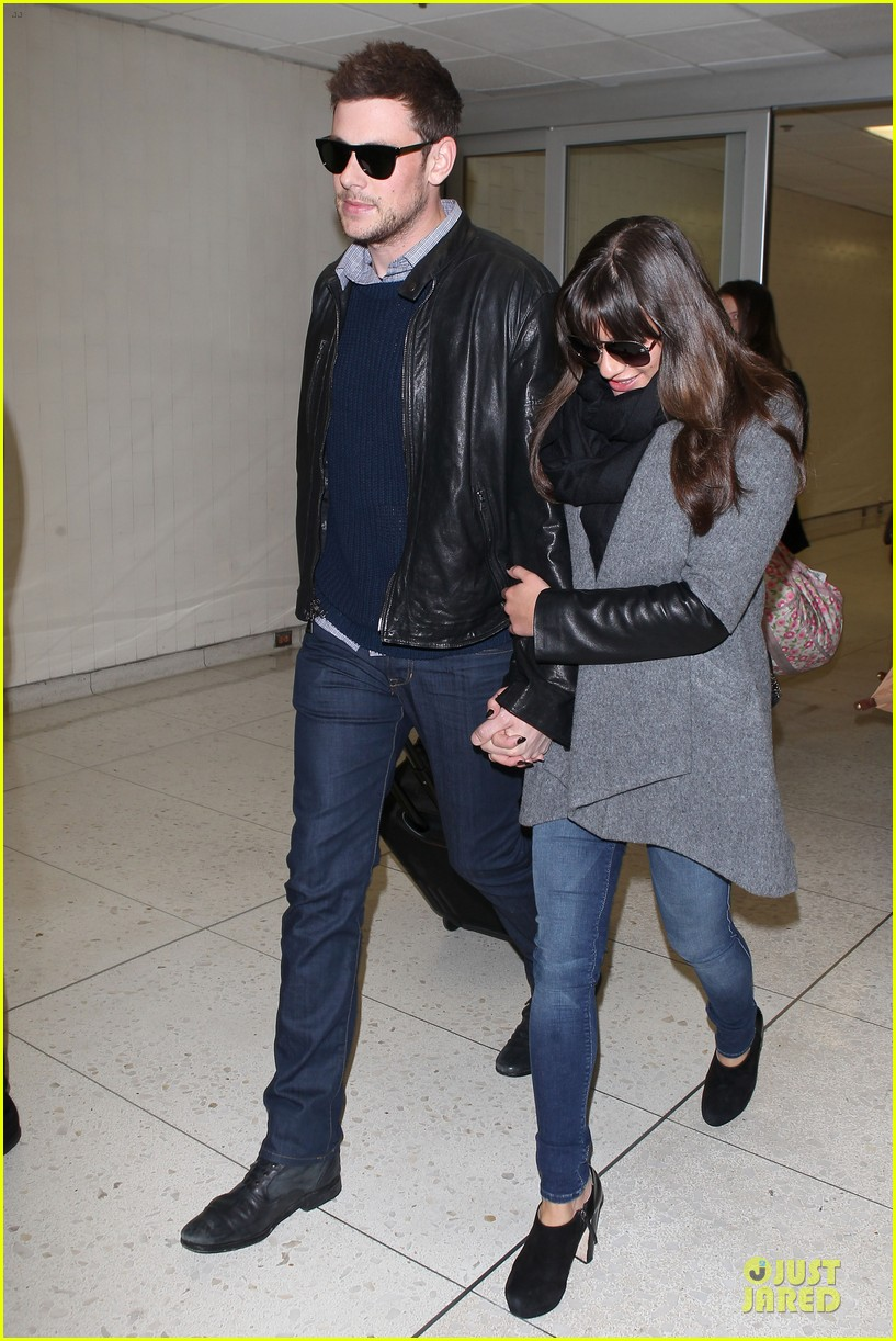 lea michele cory monteith snowy new york departure 112827696