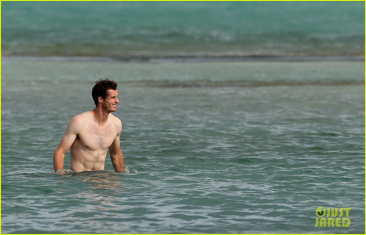 andy murray shirtless victory swim after sony open win 252841175