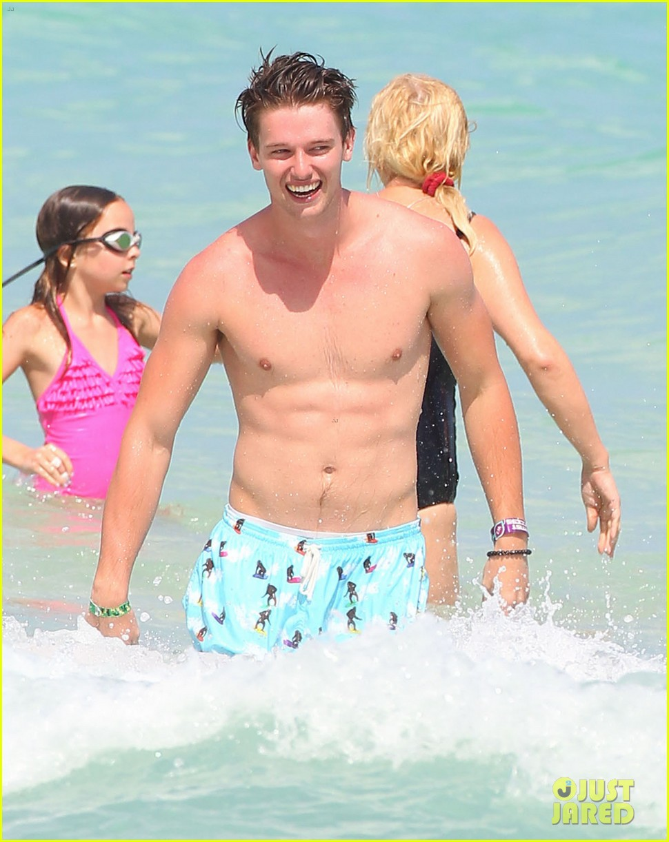 patrick schwarzenegger shirtless beach football 052837555