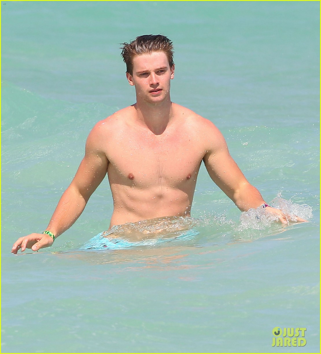 patrick schwarzenegger shirtless beach football 082837558