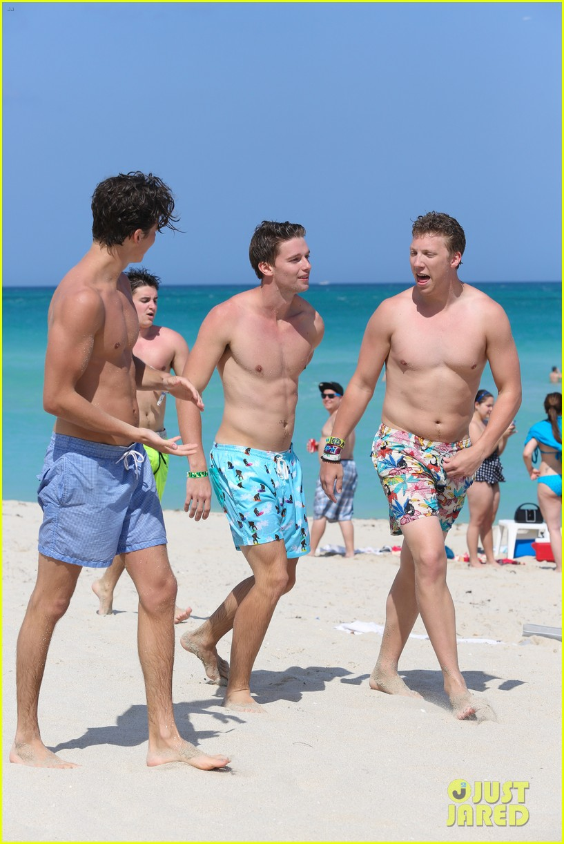 patrick schwarzenegger shirtless beach football 262837576