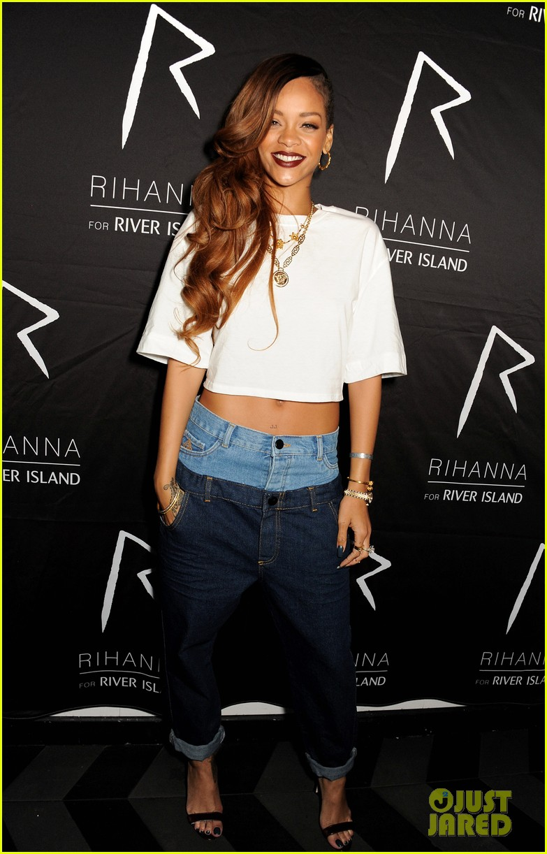 rihanna double jeans look at river island after party 012825102