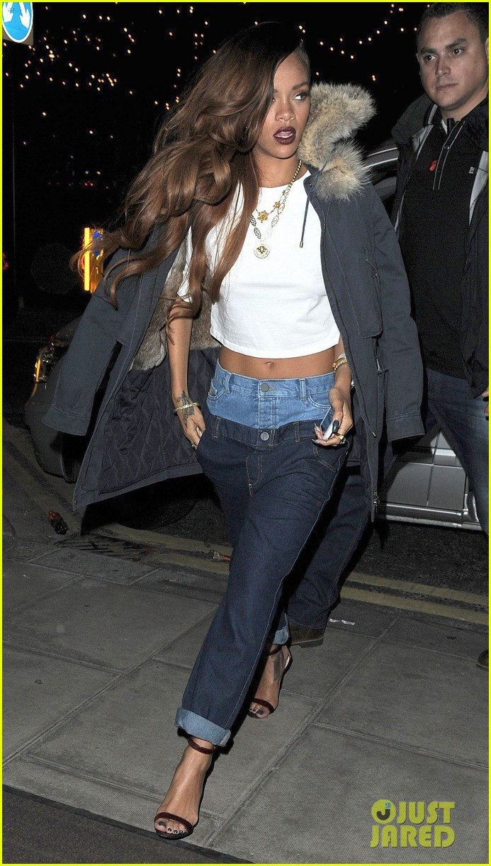 rihanna double jeans look at river island after party 03