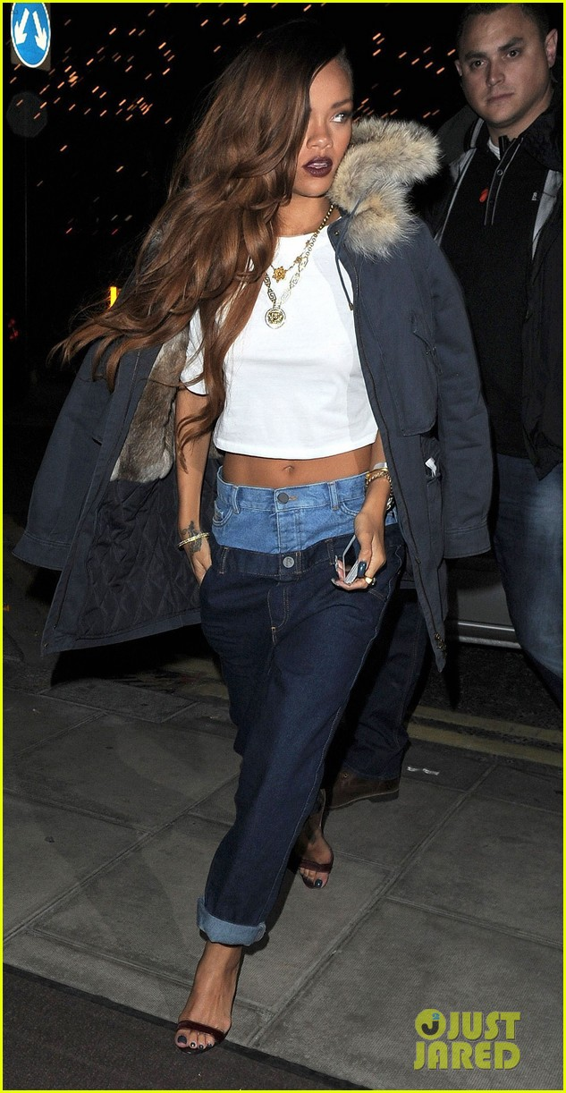 rihanna double jeans look at river island after party 122825113