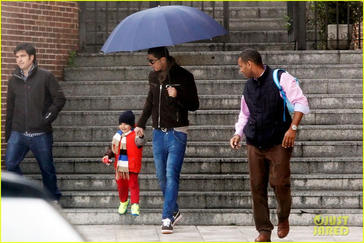 cristiano ronaldo rainy madrid day with cristiano jr 052826220