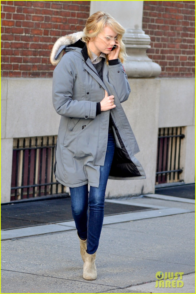 emma stone andrew garfield bundle up in canada goose 032824873
